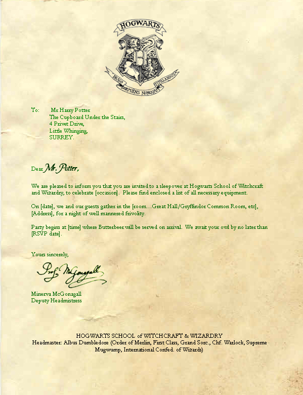 Download the file Hogwarts Acceptance Letter Envelope Template cW9NJEVT